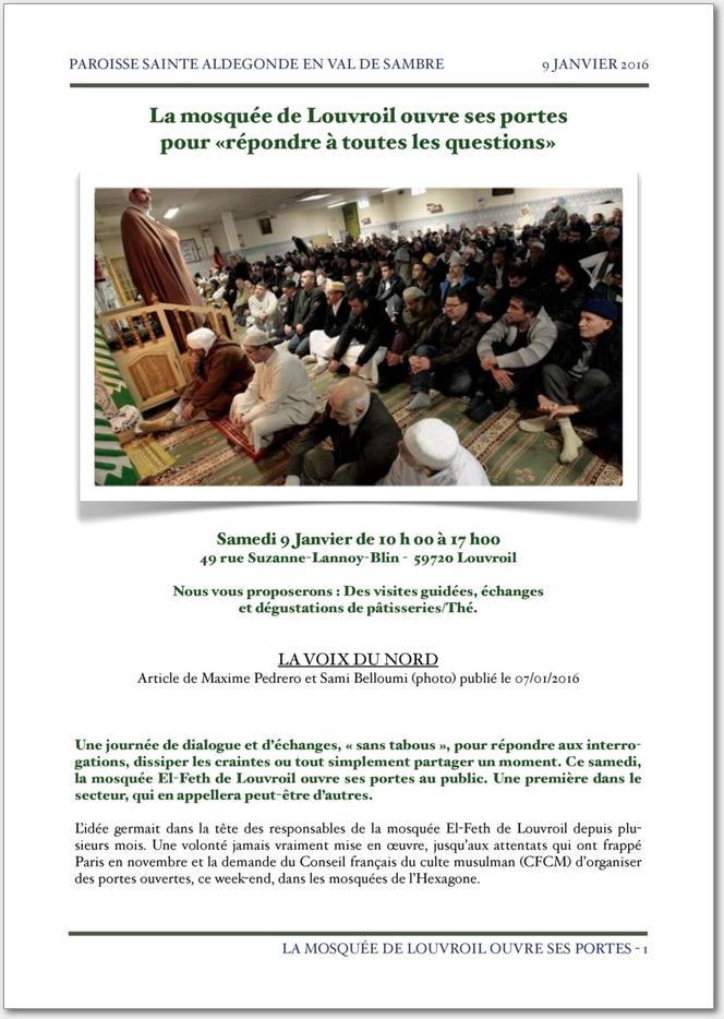 La mosqu e de louvroil ouvre ses portes - Les beatitudes une secte aux portes du vatican ...
