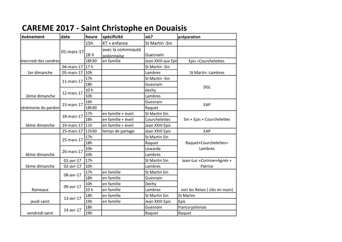 Calendrier du car me 2017 et de p ques 2017 - Date du careme 2017 ...