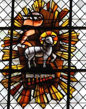 vitrail  cath. agneau chapelle st Jo