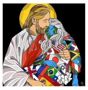 Jesus tient l'Humanite dans ses bras