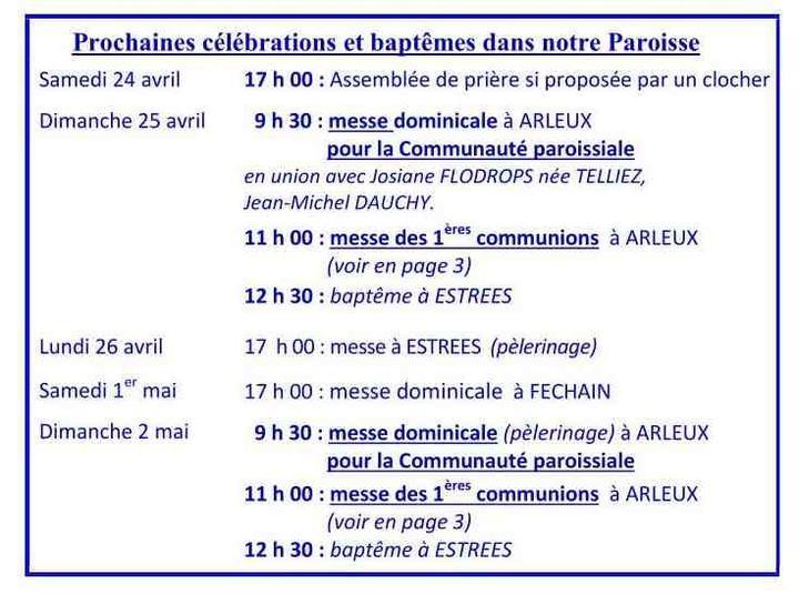 2021-04- 18#25 avril- prochaines celebrations