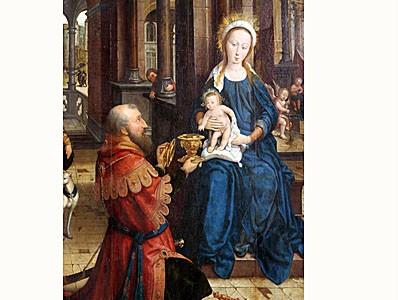 Jean Bellegambe Douai (1470-1534-40)  L'adoration de l'Enfant Jésus 1528, huile sur bois 142X160   Trésor de la cathédrale d'Arras Inv.203 bis