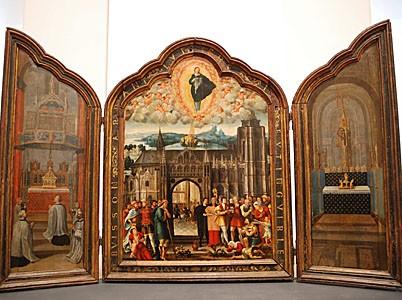 Tryptique de la sainte Chandelle Artois, vers 1220-1240 ; 1860 Argent, argent niellé, argent doré H :66 cm ; Diam 9.5 cm Trésor de la cathédrale d'Arras