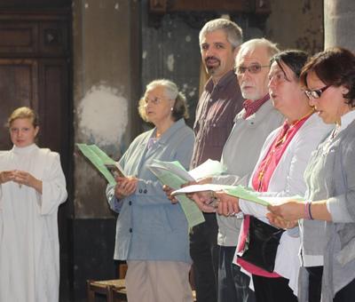 Lors de la messe à Condé/Escaut le 8 septembre