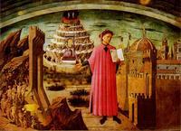 Dante montrant La Divine Comédie