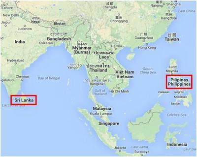 Carte Sri Lanka et Philippines