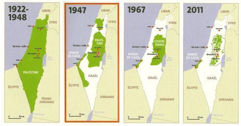 découpages successifs de la Palestine de 1948 à 20