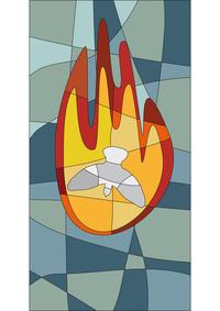 Flamme und Taube als Symbol für das Pfingstfest