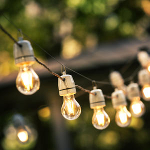 outdoor string lights hanging on a line in backyar