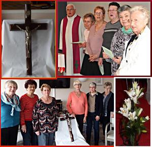 L'abbé Hervé le Minez et l'équipe de fidèles-bénévoles