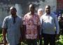 Au jardin du presbytère de Caudry :Pères C. Sanon (Burkina-Faso), U. Koukoura (Togo), H. Le Minez (paroisse Sainte Maxellende), M. Séri (Burkina-Faso)