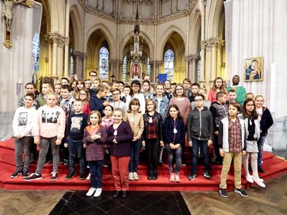 messe avec les enfants de 2ième année de caté et le Père I. Delouh