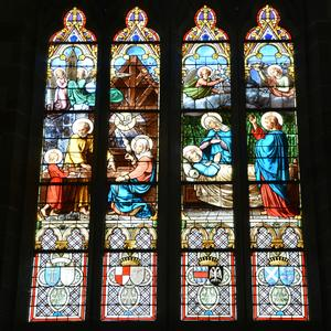stained glass windows, church, cathedral