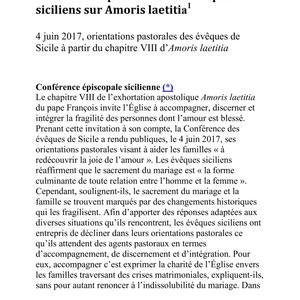 Amoris laetitia par les évêques de Sicile