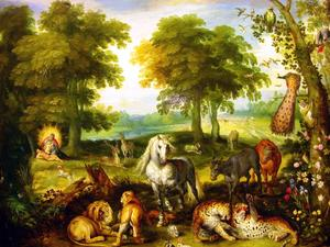Creation d'Eve au paradis terrestre Bruegel le jeu