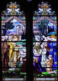 St Vaast  - vitrail a l'eglise St Vaast de Bethune