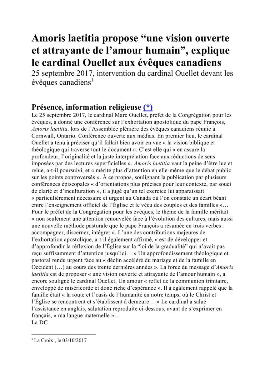 Amoris laetitia par les évêques du Canada