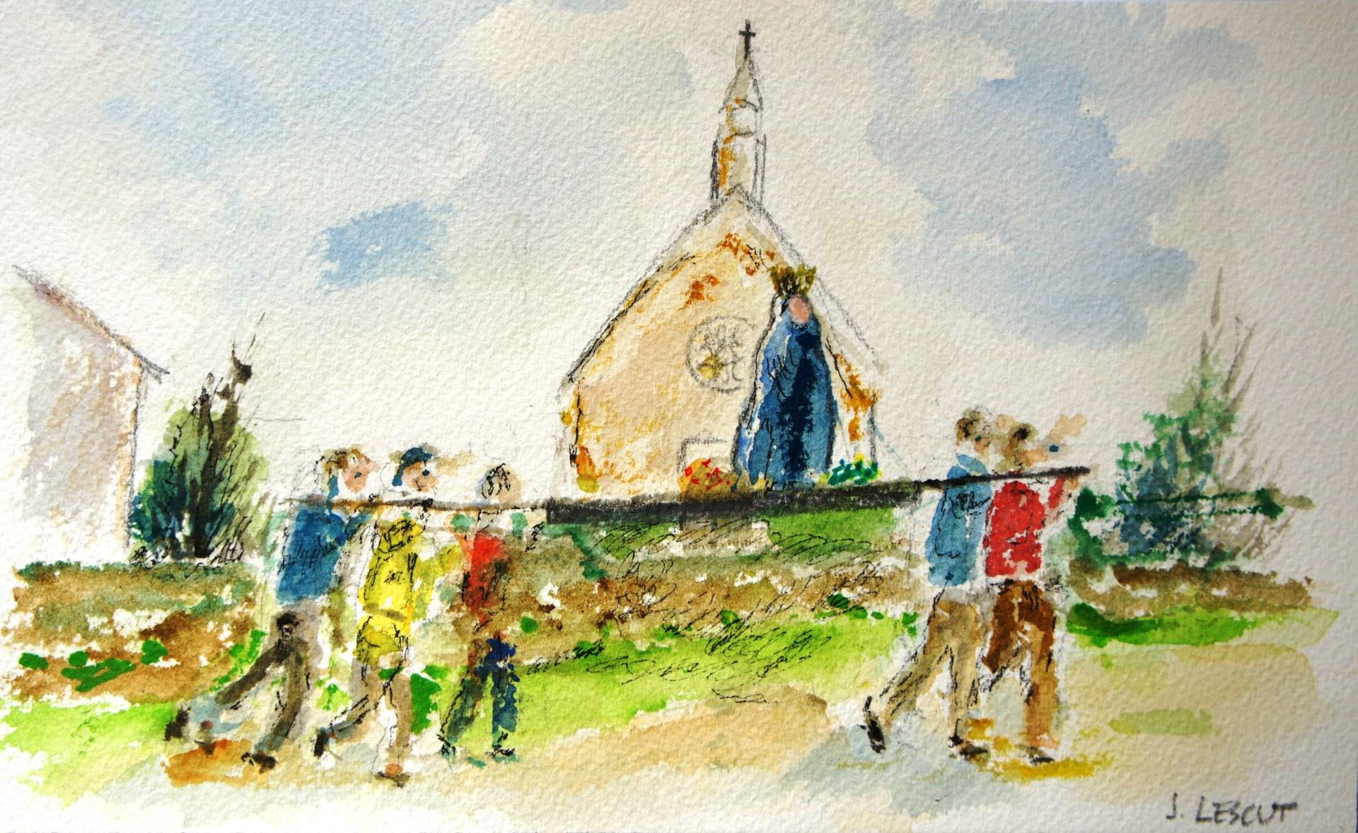 aquarelle procession