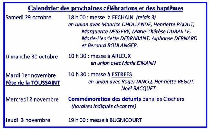 Calendrier des celebrations 2016-10- 23#30 octobre