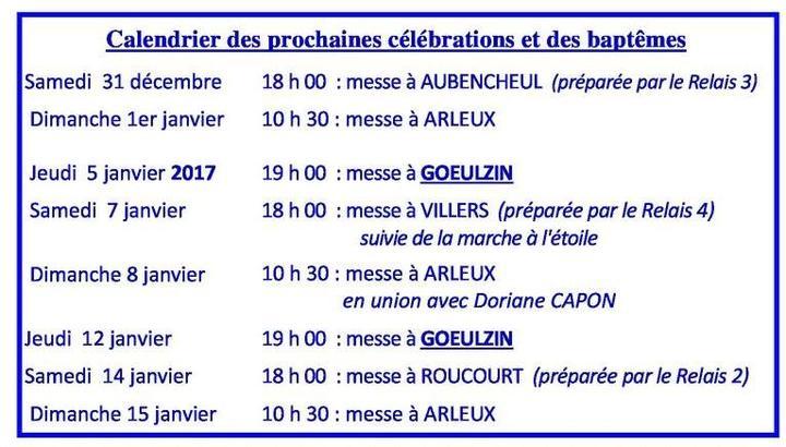 Calendrier des celebrations 2016-12- 25#01 dec!jan