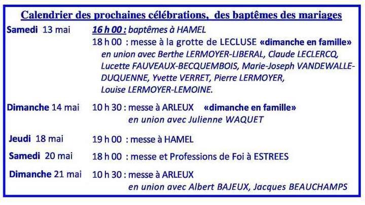 Calendrier des celebrations du 13 au 21 mai 2017