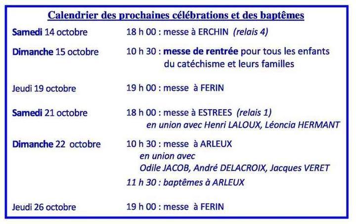 Calendrier des celebrations du 14 au 26 octobre 20