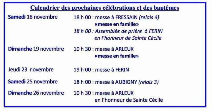 Calendrier des celebrations du 18 au 26 novembre 2