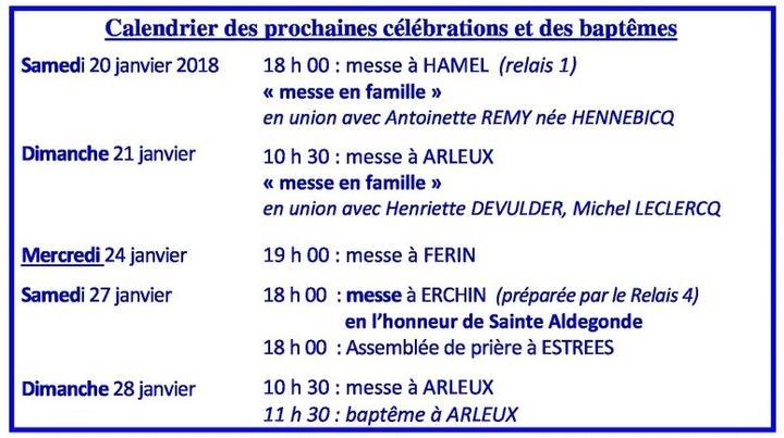 Calendrier des celebrations du 20 au 28 janvier 20