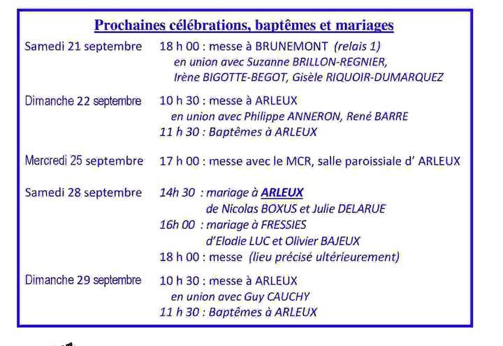 Calendrier des celebrations du 21 au 29 septembre