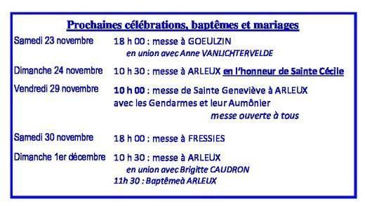Calendrier des celebrations du 23  novembre au 1er