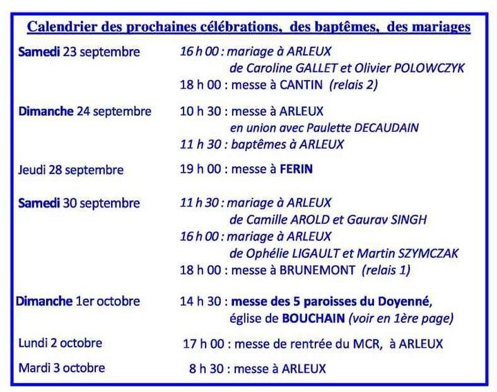 Calendrier des celebrations du  23 septembre au 3
