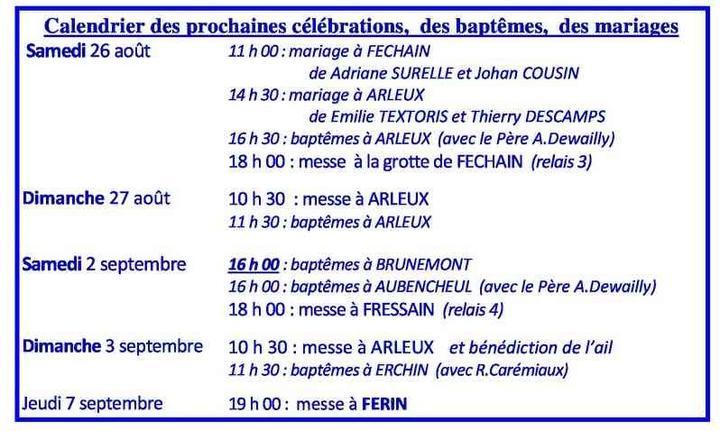 Calendrier des celebrations du 26 aout au 7 septem