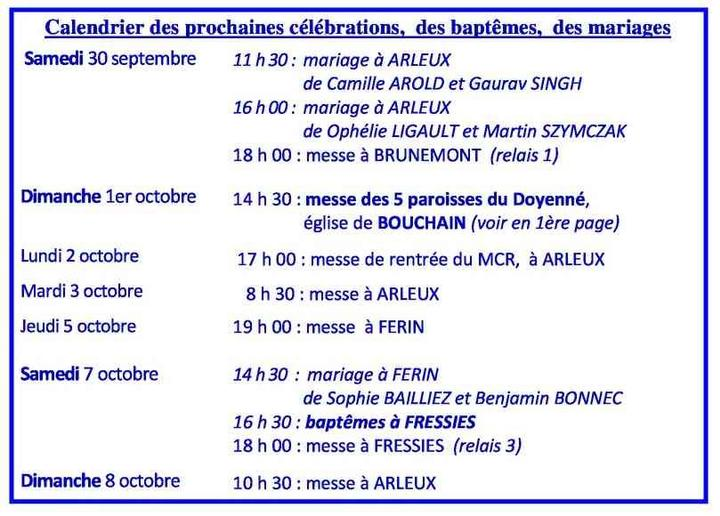 Calendrier des celebrations du  30 septembre au 8