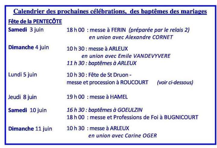 Calendrier des celebrations du 3 au 11 juin 2017