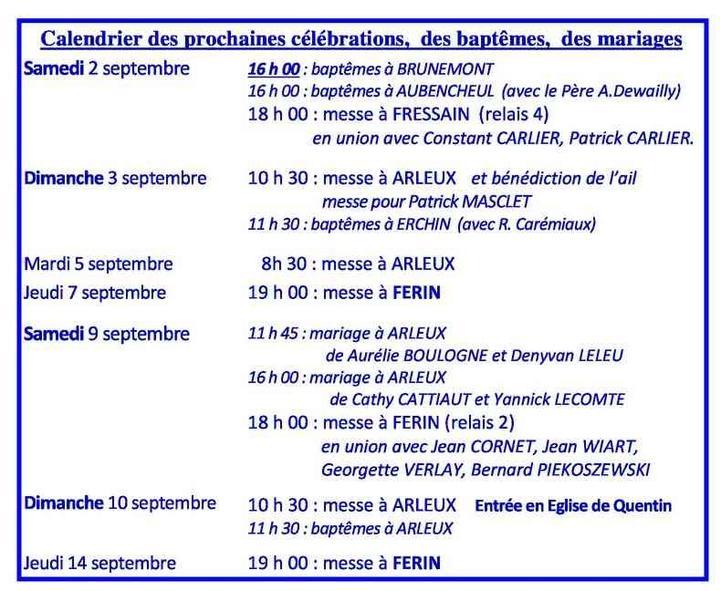 Calendrier des celebrations du  2 au 14 septembre