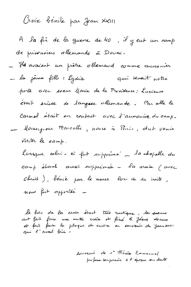 Souvenirs Sr Thérèse Emmanuel