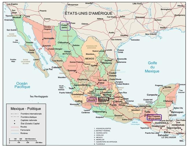 Carte etats mexicains