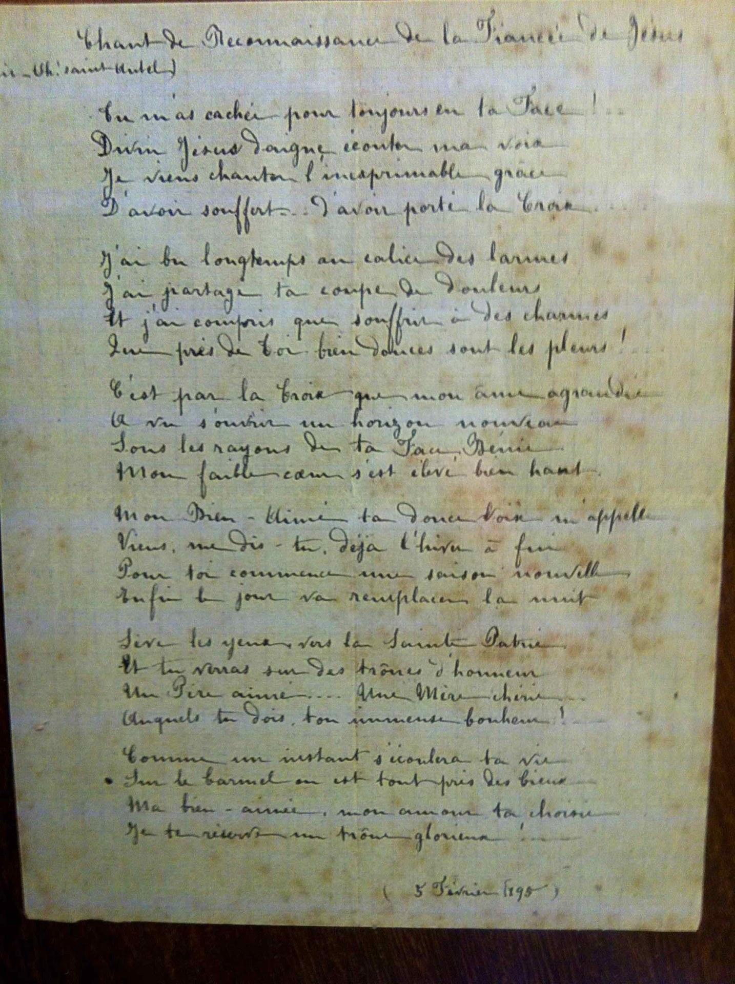 Une poésie de Thérèse, écrite de sa main.