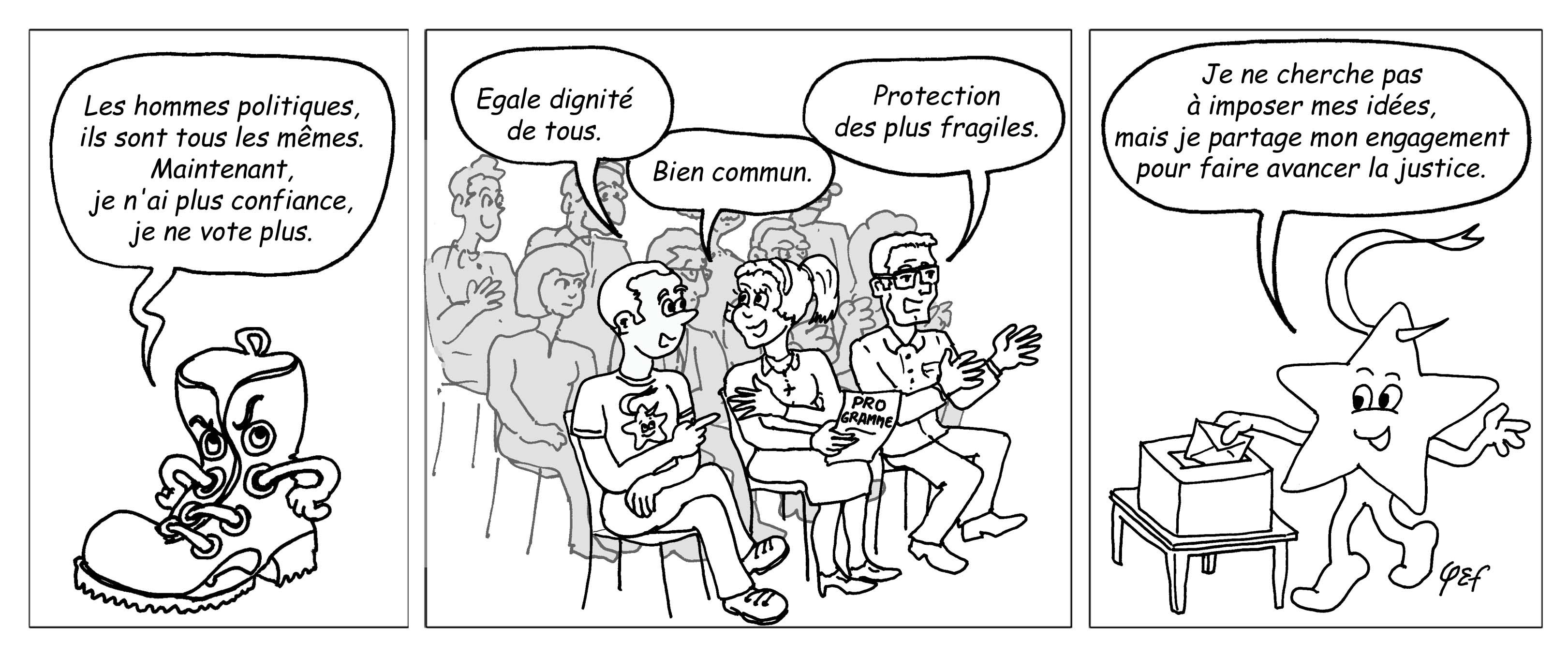 Camérino et les élections (au trait)