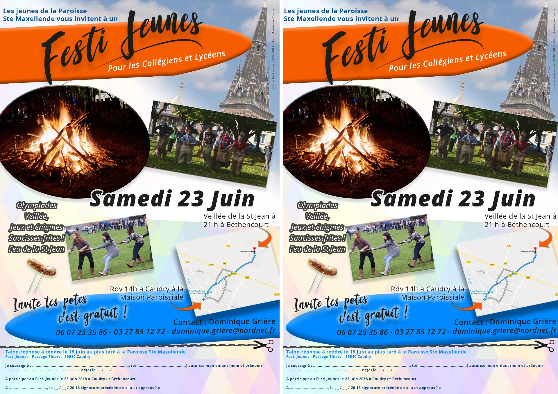 2 flyers Festi Jeunes Caudry