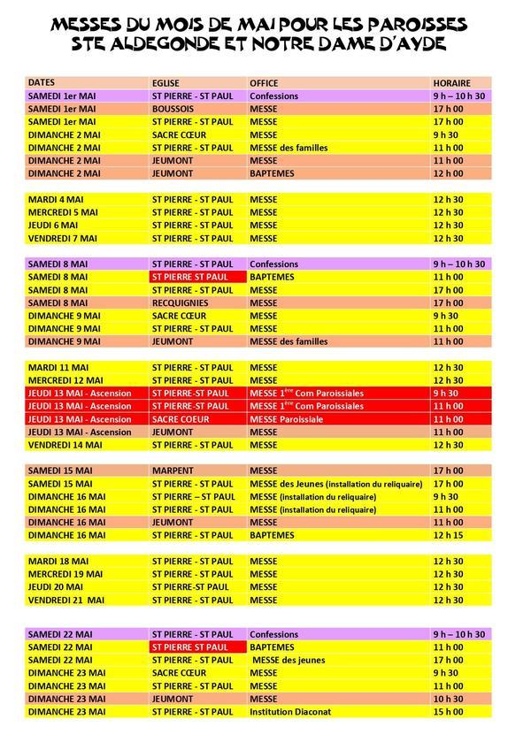 HORAIRES DES MESSES DU MOIS DE MAI 2021 page 1