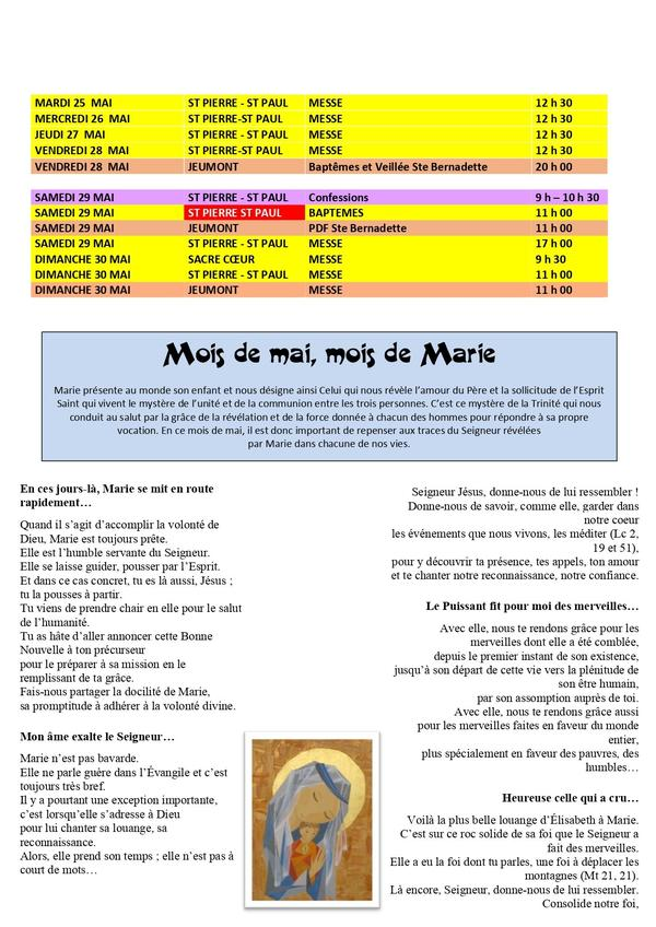 HORAIRES DES MESSES DU MOIS DE MAI 2021 page 2