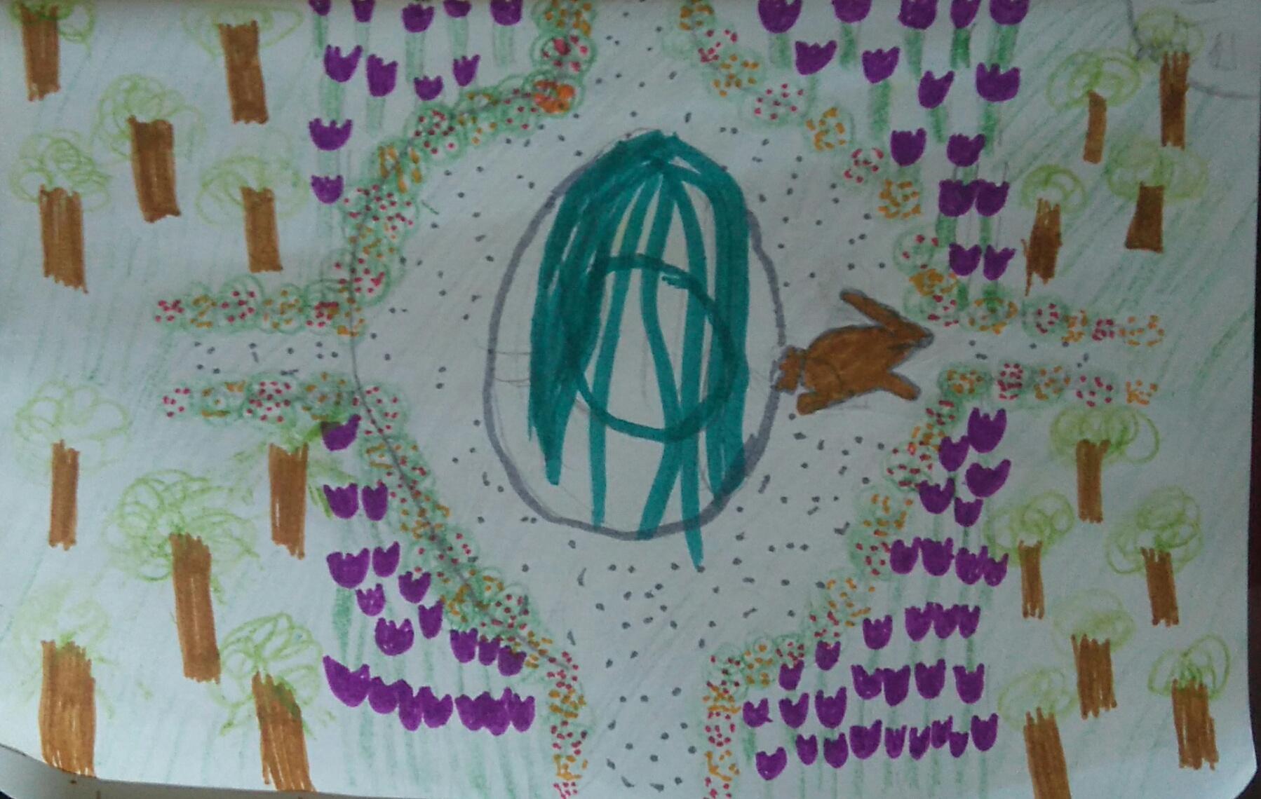 C dessine le jardin de Ste Thérèse avec le lapin
