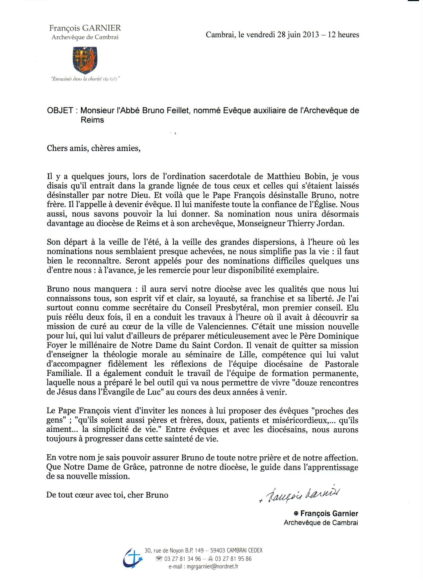 Lettre de Monseigneur Garnier