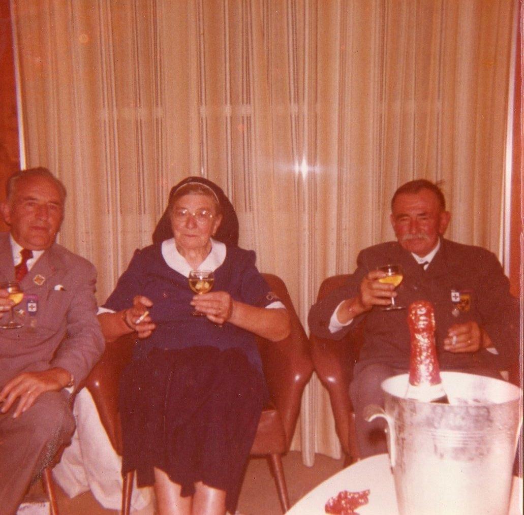 Durant un anniversaire à Lourdes en 1975 avec Mr Robert Stanus