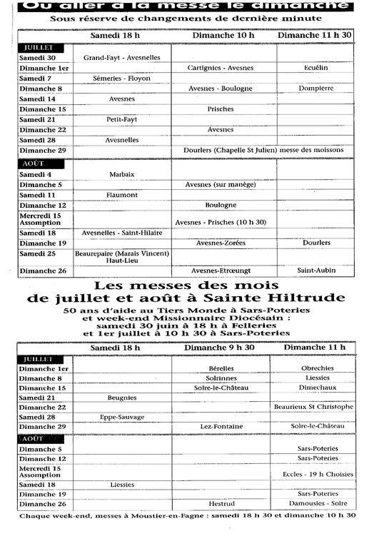 messes juil et aout 2012