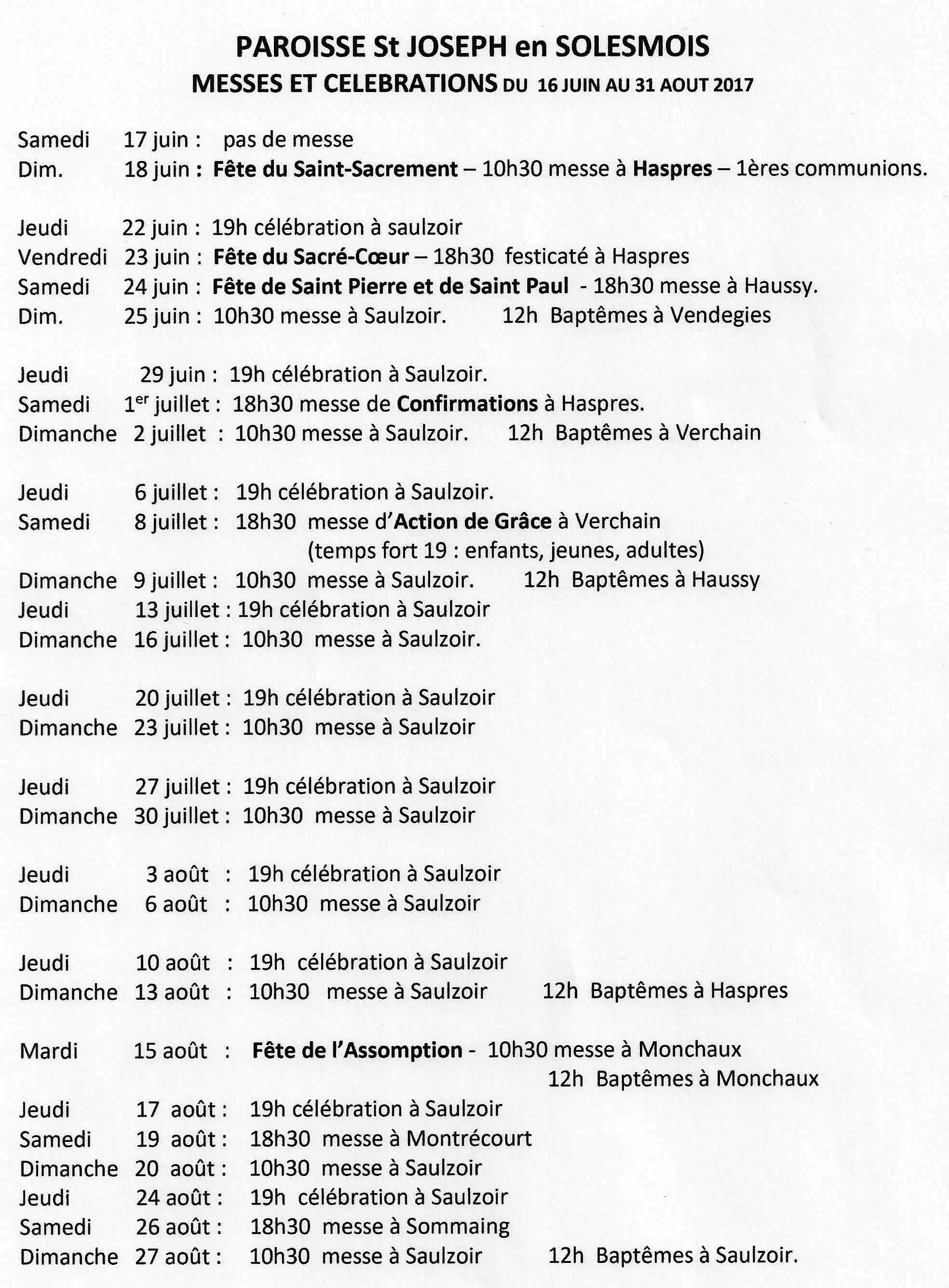 messes paroisse st joseph en solesmois 18 06 - 27