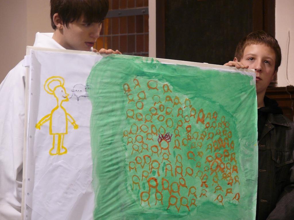 les jeunes ont réalisé un dessin suite à leur réflexion sur le texte de l'évangile