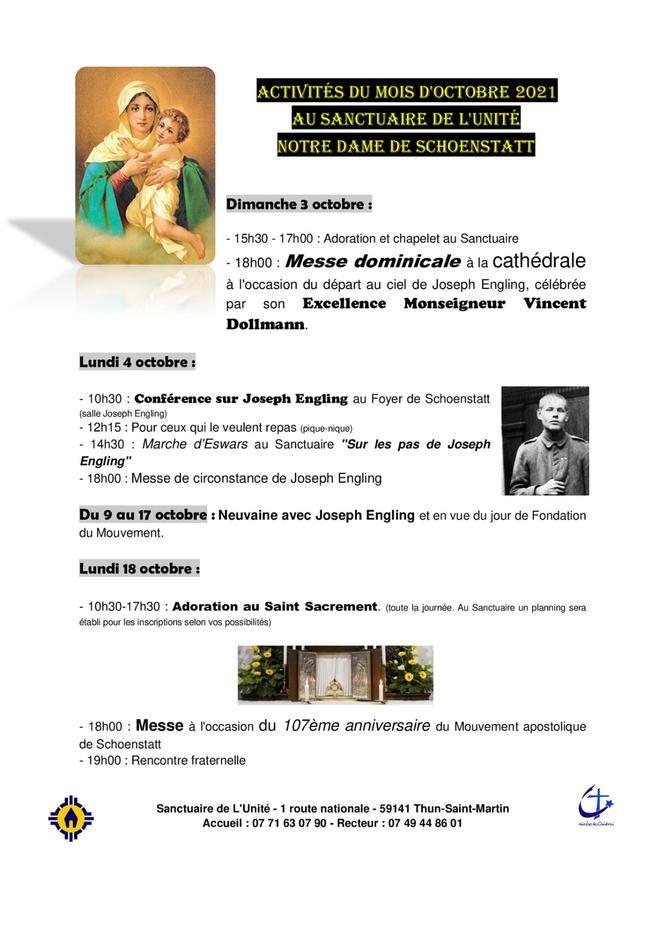 programme octobre sanctuaire de l'unite
