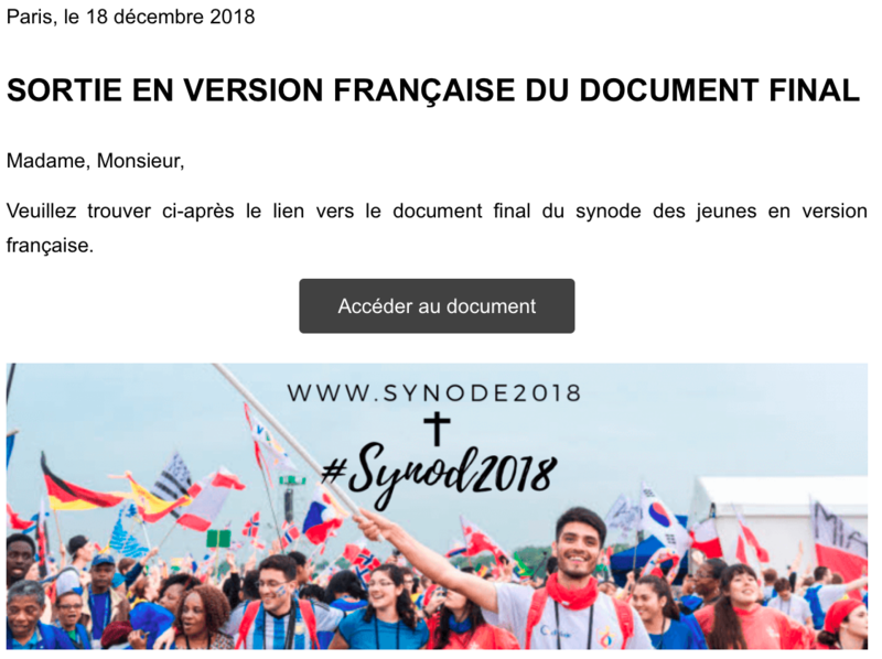 sortie document synode
